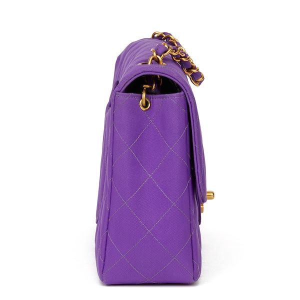 purple-quilted-nylon-fabric-vintage-classic-single-flap-bag