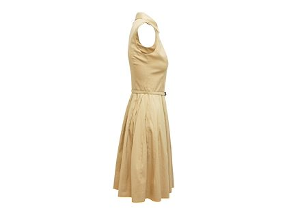 khaki-oscar-de-la-renta-2014-sleeveless-pleated-dress-with-belt