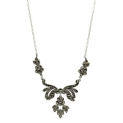vintage-1930s-marcasite-sterling-silver-flower-necklace