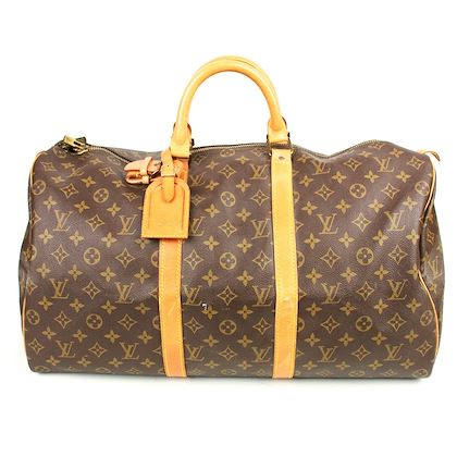 louis-vuitton-keepall-50-duffle-bag-brown-monogram-print-luggage-tag-pre-owned-used