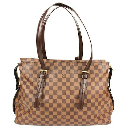 louis-vuitton-large-damier-shoulder-tote-bag-brown-buckle-straps-monogram-pre-owned-used