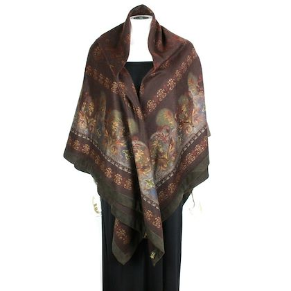 loro-piana-blanket-cashmere-floral-suede-trim-brown-large-poncho-cape-coat-pre-owned-used