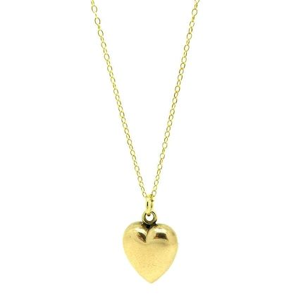 antique-victorian-9ct-gold-puffed-heart-charm-necklace
