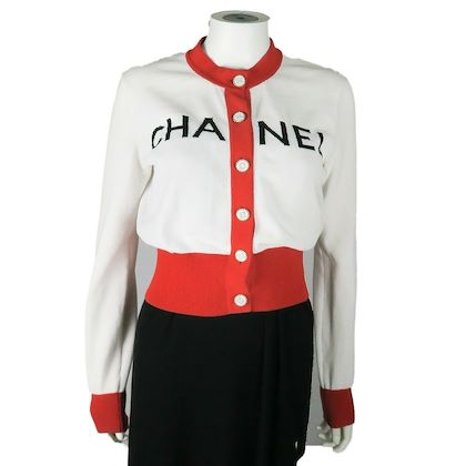 chanel-2019-cardigan-sweater-red-white-black-logo-us-8-40-pre-owned-used