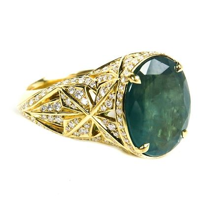 kat-florence-25k-diamond-ring-18k-gold-blue-green-grandiderite-stone-us-8-pre-owned-used