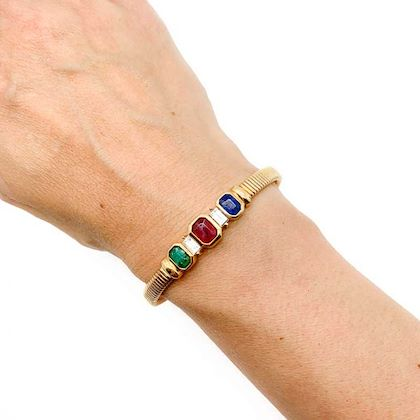 vintage-dior-gold-emerald-sapphire-and-ruby-crystal-gem-bracelet-1980s