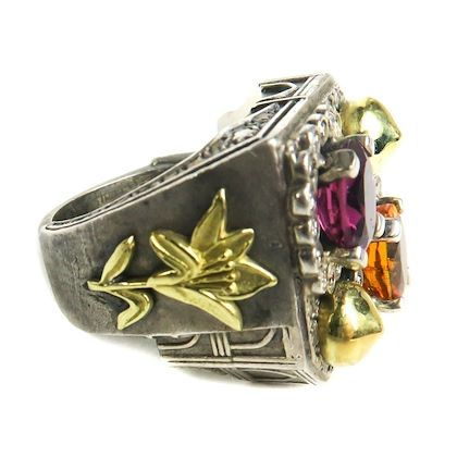 stambolian-diamond-ring-18k-gold-flowers-arch-gem-stones-sterling-silver-65-pre-owned-used