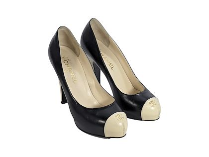 black-cream-chanel-leather-platform-pumps