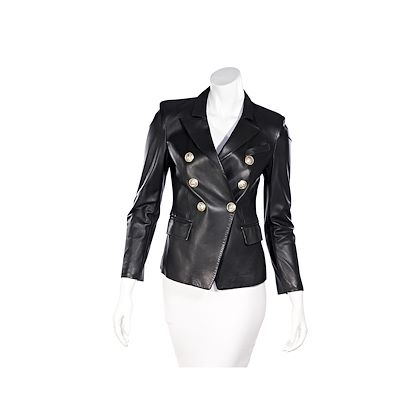 black-balmain-leather-double-breasted-jacket