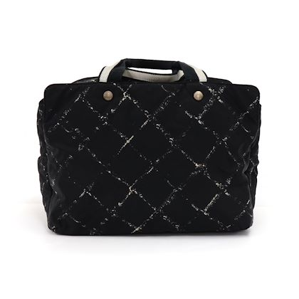 chanel-travel-line-black-jacquard-nylon-medium-boston-bag