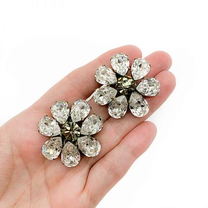 vintage-dominique-aurientis-floral-crystal-earrings-french-1980s