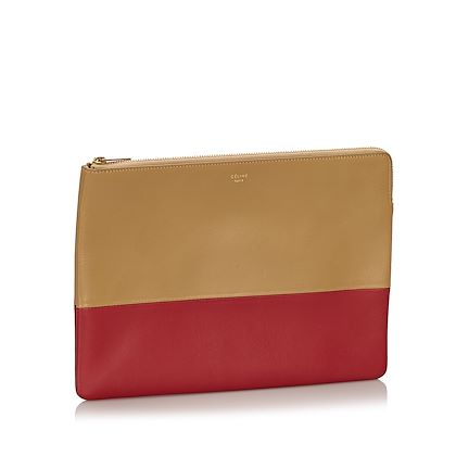 red-celine-bicolor-leather-clutch-bag