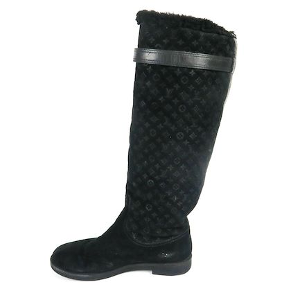 louis-vuitton-lv-shearling-boots-black-suede-knee-high-print-us-75-375-pre-owned-used