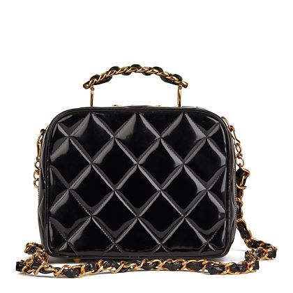 black-quilted-patent-leather-vintage-small-timeless-lunch-box-bag