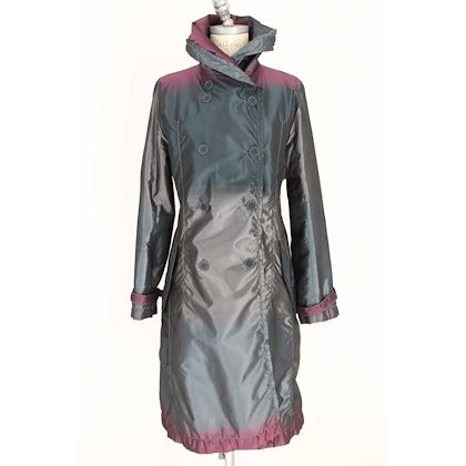 issey-miyake-vintage-silk-trench-coat-glossy-gray-and-blue-changeling-double-breasted