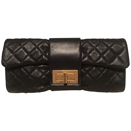 chanel-black-quilted-sheepskin-leather-255-reissue-mademoiselle-clutch