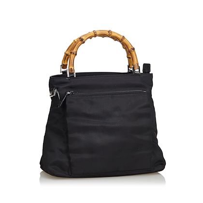 black-gucci-bamboo-nylon-satchel