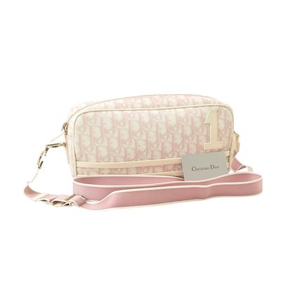 christian-dior-trotter-canvas-shoulder-bag-pink-pvc