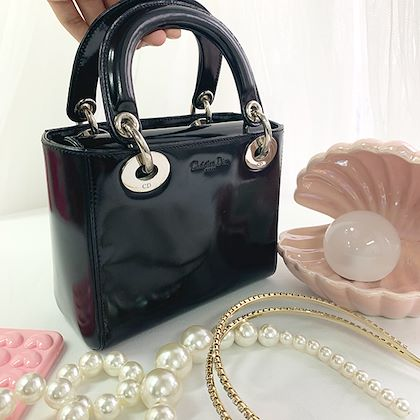 dior-patent-lady-handbag-blacksilver