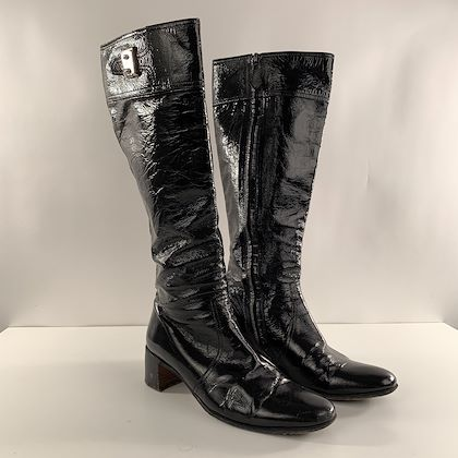 hermes-black-patent-leather-boots-shoes-size-36