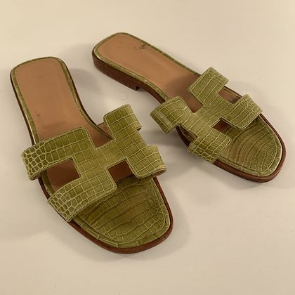 hermes-green-crocodile-oran-flat-slide-sandals-size-36