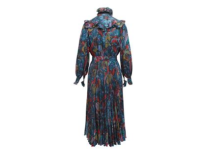 multicolor-vintage-ungaro-ruffle-printed-dress