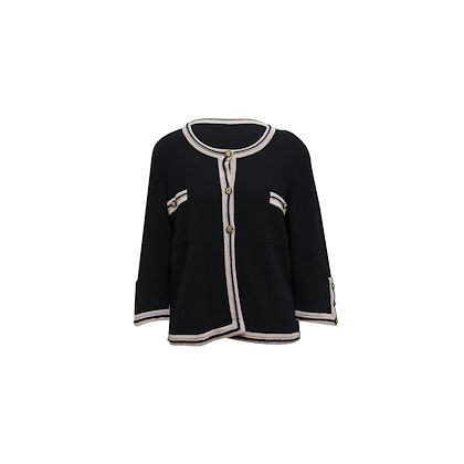 black-and-taupe-chanel-cardigan