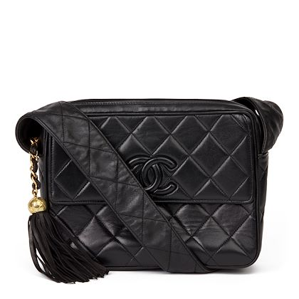 black-quilted-lambskin-vintage-leather-logo-fringe-shoulder-bag