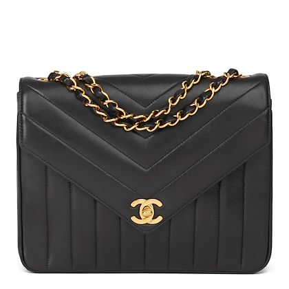 black-chevron-vertical-quilted-lambskin-vintage-classic-single-flap-bag