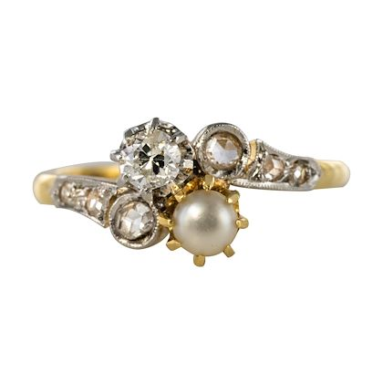 19th-century-french-diamond-natural-pearl-you-and-me-engagement-ring