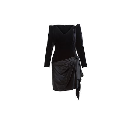 black-yves-saint-laurent-couture-1991-runway-silk-and-velour-skirt-set