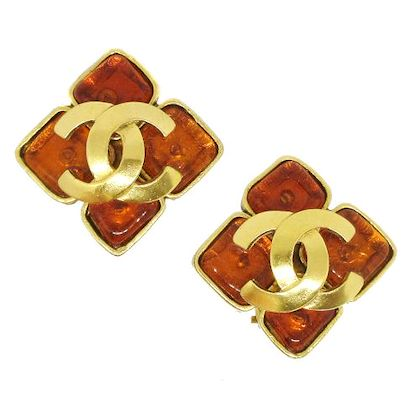 chanel-cc-logos-rhombus-bijou-earrings-brown-gold