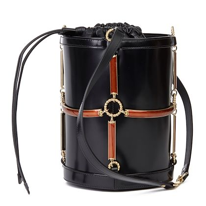 black-vinyl-lambskin-rust-enamel-bucket-bag