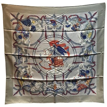 authentic-hermes-cavaliers-des-nuages-silk-scarf-in-gray
