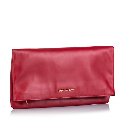 red-yves-saint-laurent-leather-fold-over-clutch-bag