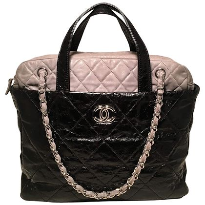 chanel-black-and-grey-leather-top-handle-coco-shoulder-bag-tote