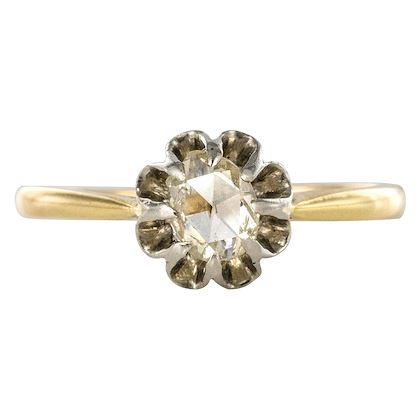 french-19th-century-rose-cut-diamond-18-karat-yellow-gold-solitaire-ring