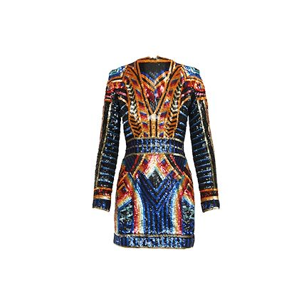 orange-multicolor-balmain-sequined-mini-dress