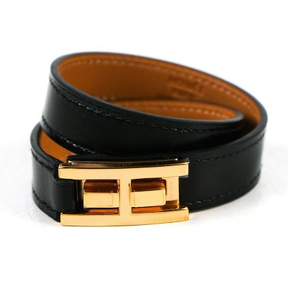 hermes-bracelet-double-tour-leather-black-gold