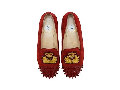 red-christian-louboutin-suede-studded-flats