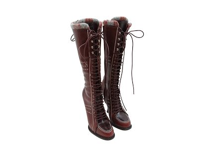 maroon-christian-dior-leather-lace-up-boots