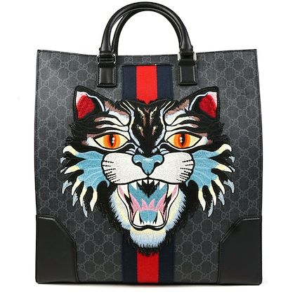 gucci-angry-cat-tote-bag-with-strap-gg-supreme-black-leather-monogram-stripe