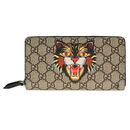 new-gucci-angry-cat-long-wallet-gg-supreme-logo-zip-around
