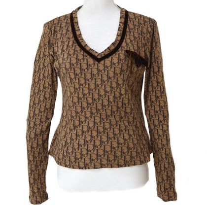 christian-dior-trotter-pattern-bow-charm-long-sleeve-tops-brown