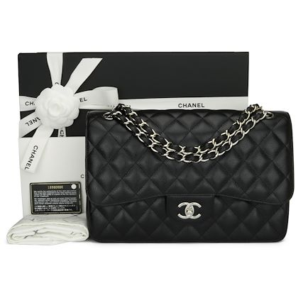 chanel-double-flap-jumbo-black-caviar-silver-hardware-2014-2