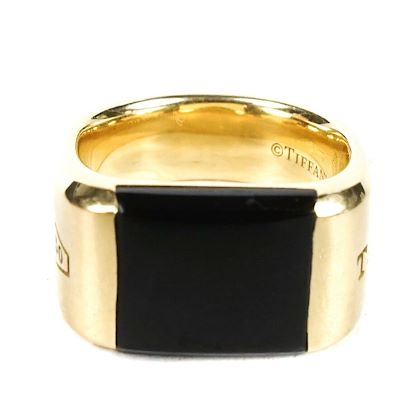 tiffany-and-co-1837-makers-black-onyx-signed-ring-18k-yellow-gold-size-7