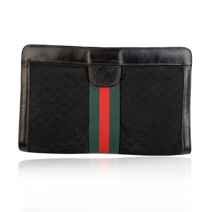 gucci-vintage-black-monogram-canvas-cosmetic-bag-clutch-with-stripes