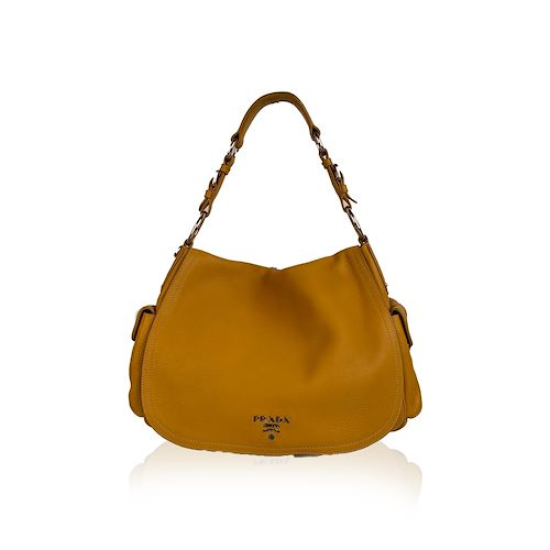 prada yellow leather flap shoulder bag with side pockets br3706, yellow