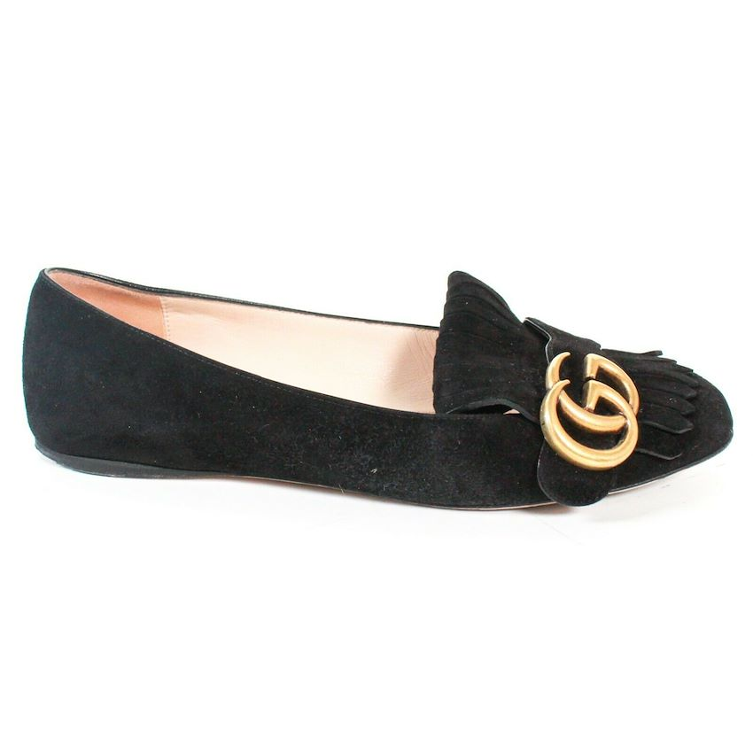 Gucci Marmont Fringe Suede Loafers