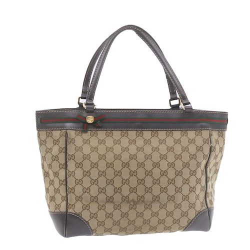 Gucci Sherry Line Gg Canvas Hand Bag Pink Gold Auth 18905